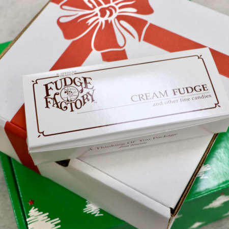 A photo of gift boxes available from Nauvoo Fudge Factory